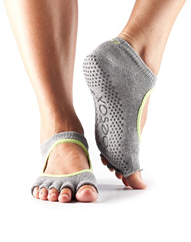 ToeSox Women's Bella Half Toe Grip Non-Slip for Yoga, Pilates, Barre, Ballet Toe Socks (Heather Grey/Lime Trim) - Trim Open Toe