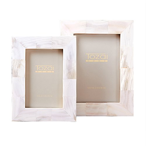 Two's Company Set of 2 Mother of Pearl Frames, 2 Assorted Sizes (Pearl Frame Flower)