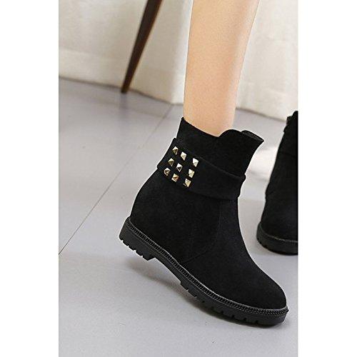 de casual Moda botas Round Zapatos Toe tacón botas de Cuero rojo para PU Invierno Red Confort negro Nubuck pequeño mujer y 4wWfpAWgd