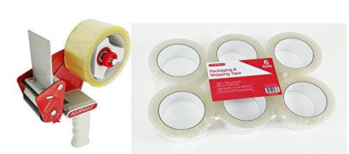 Amram Packing Tape Dispenser Gun, 2'' Width, 3'' Core, w/1 Roll of Clear Packing Tape 1.88'' x 54 yds. Bonus KIT Includes Amram Clear Packing Shipping Tape, 1.88'' x 109 Yards/Roll, 6 Rolls. by AMRAM