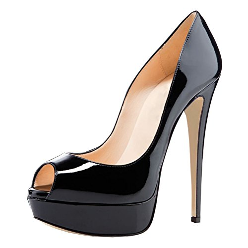 Joogo Women Peep Toe Pumps Platform Thin Heel Stiletto Sandals Wedding High Heels Slip On Dress Shoes Black Size 7