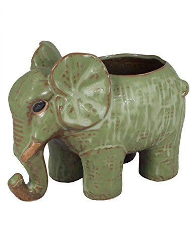 Dahlia Adorable Elephant Handmade Ceramic Succulent Planter/Plant Pot/Flower Pot, (Tall Ceramic)