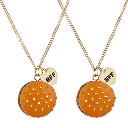 Lux Accessories Hamburger Fast Food Novelty BFF Best Friends Necklace Set 2PC