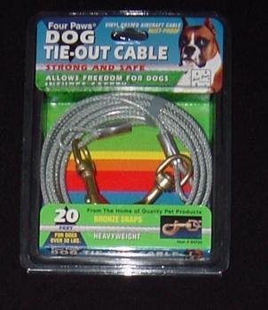 Heavy Out Tie 15' (Dog Heavy Tie Out Cable in Silver Size: 20 Feet)