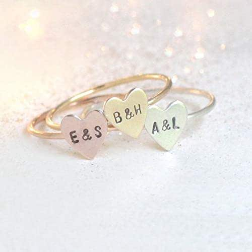 92ca1a91b9 Amazon.com: personalized heart ring. initial ring. stackable RING ...