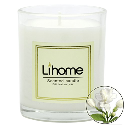 45Min Lihome All Natural Soy Wax Scented Candles, Essential Oil, Item Weight 11.4 OZ Long Burning Time, Lavender/Jasmine/Lemon/Vanilla etc. 8 Scents(Jasmine), Gifts for Love.