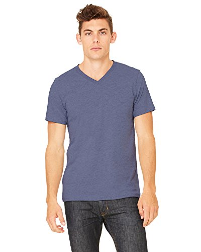 Bella + Canvas Unisex Jersey Short-Sleeve V-Neck T-Shirt, Medium, HEATHER NAVY
