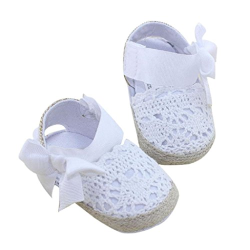 Koly Prewalker Zapatos, primeros pasos para bebé-niñas, sandalias de bowknot, flor de cordón (S, Blanco) Blanco