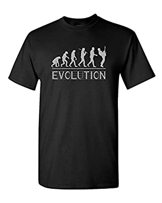 Thread Science Evolution of a Guitarist Musician Music Band Base Acoustic Guitar Electric Funny Humor Tee Pun Graphic Adult Mens T-Shirt