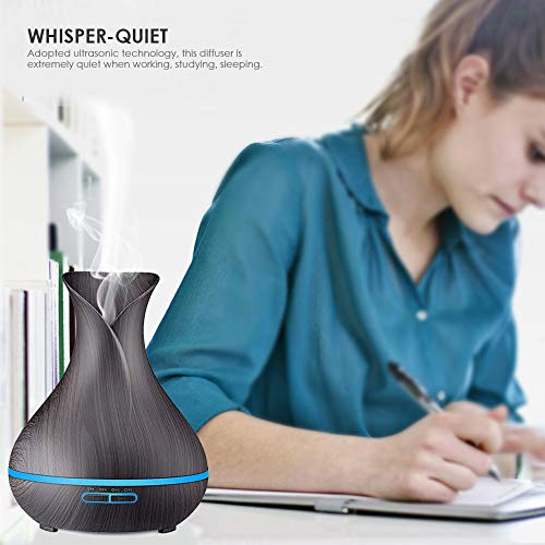 URPOWER Essential Oil Diffuser, 400ml Wood Grain Aromatherapy Diffuser Ultrasonic Cool Mist Humidifier with Color LED Lights Changing and Waterless Auto Shut-off for Bedroom Office Home Baby Room Yoga