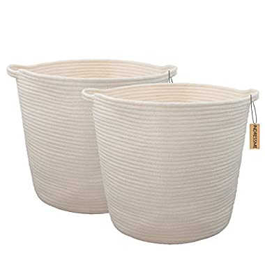 INDRESSME 2 Pack XL Round Cotton Rope Storage Basket Baby Laundry Basket Woven Baskets Blanket Soft Floor Basket with Handle for Throw Toy 16.0 x 15.0 x12.6 ,Off White