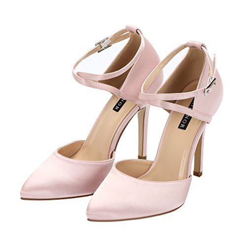 Strap Evening High Women Heel Wedding Dress Pumps ERIJUNOR Blush Ankle Prom Satin Shoes nqSI5CCx