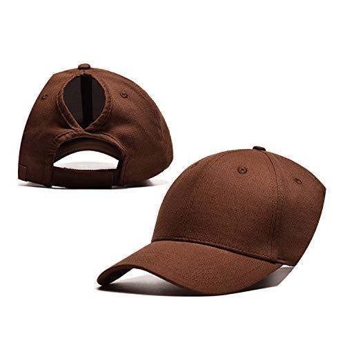野球帽のキャップンスタイルのオープンポニーテールキャップ カスタマイズ 帽子,ブラウン,CCマークなし