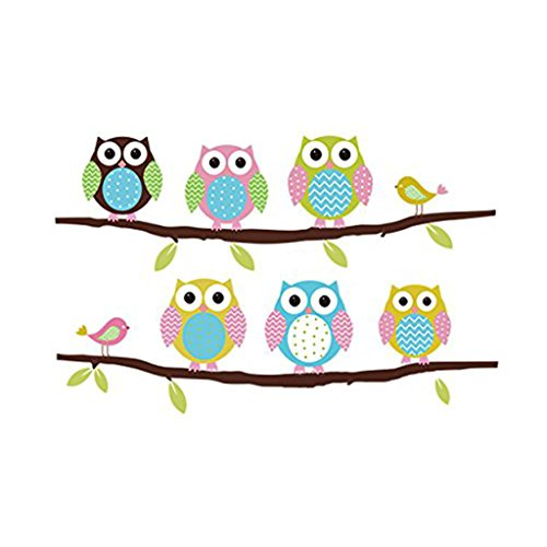 SYlive Beautiful Wall Decals Stickers, Paper Removable for Home Living Dinning Room Bedroom Kitchen Decoration DIY with Girls Boys Kids(Lovely Owls)
