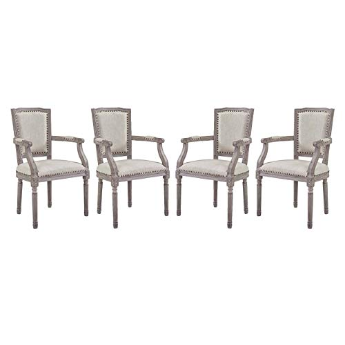 Modway Penchant French Vintage Upholstered Fabric Four Kitchen and Dining Room Arm Chairs with Nailhead Trim in Beige – Fully Assembled