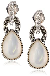 "Judith Jack ""Blue Sky"" Sterling Silver Marcasite Crystal Mother-Of-Pearl Drop Earrings"