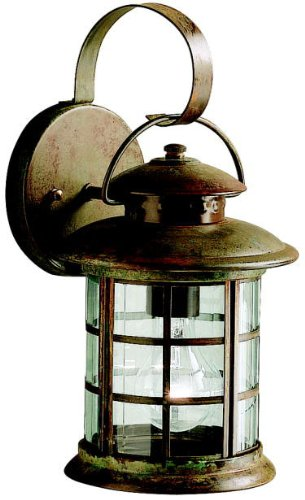 - Kichler 9760RST Rustic Outdoor Wall 1-Light, Rustic