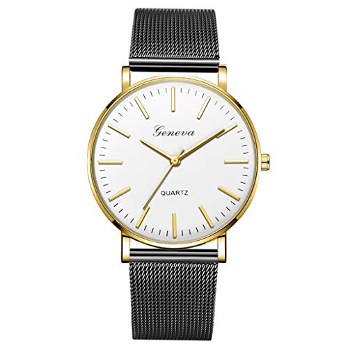 WUAI Mens Watches Fashion Simple Minimalist Stainless Steel Mesh Band Casual Business Quartz Analog Watch