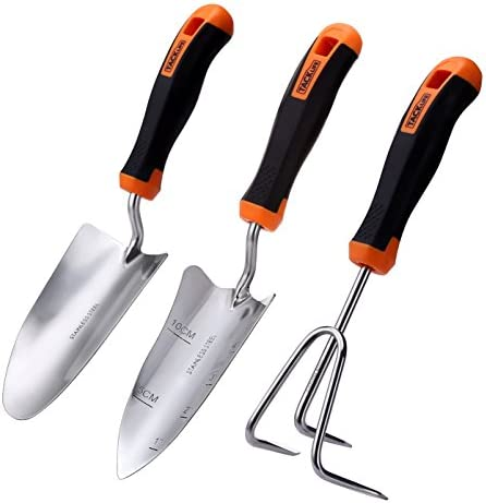 Garden Tool Set, TACKLIFE 3 Piece Stainless Steel Heavy Duty Gardening Kit  With Soft Rubberized Non Slip Handle   Trowel, Transplant Trowel And  Cultivator ...