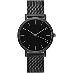 Womens Quartz Watch,COOKI Unique Analog Fashion Clearance Lady Watches Female watches on Sale Casual Wrist Watches for Women,Round Dial Case Comfortable Stainless Steel Watch-H03 (Black)