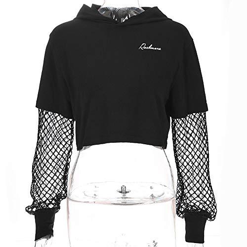 Manches Hoodie Sweats Longues pissure Printemps Jumpers Pche Tops Mode Casual Noir Crop Femmes de Automne Hauts Capuche Jeune Shirts Smalltile Sweat Filet Tw0HAHq