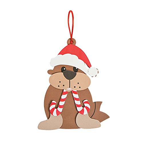 Christmas Peppermint Express - Fun Express - Peppermint Walrus Ornament CK-12 for Christmas - Craft Kits - Ornament Craft Kits - Foam - Christmas - 12 Pieces