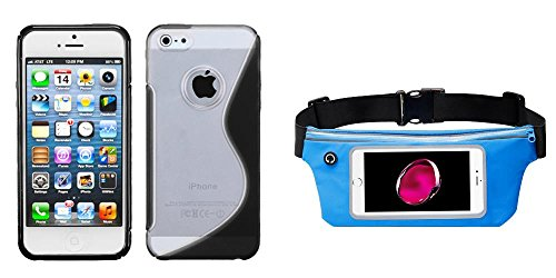 Combo pack MYBAT Transparent Clear/Solid Black (S Shape) Gummy Cover for APPLE iPhone 5 And Sky Blue Sports