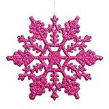 Vickerman Snowflake Ornament, 4-Inch, Magenta