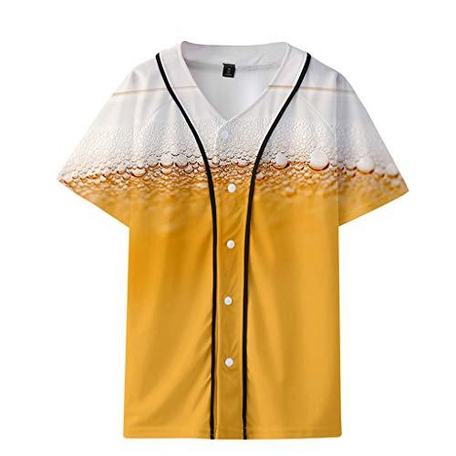 Men's Summer Beer Festival 3D Printing Thin Short Sleeve Baseball Clothing Tops Khaki