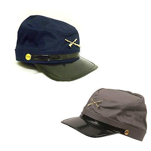 Civil War Soldier Costume (Civil War Blue & Gray Kepis ~ 2 Adjustable Cotton Soldier Hats & Civil War Game)