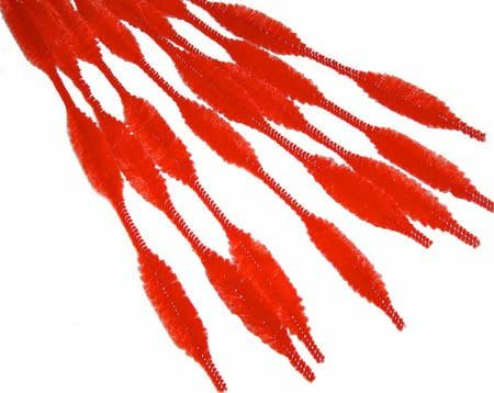 Bumpy Chenille Stems - Package of 36 Red Bumpy Chenille Pipe Cleaner Stems - Each Measures 12 Inches Long