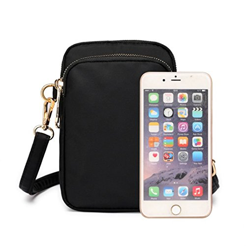 Purse Wallet Waterproof Nylon Cell Small Holder Women Phone Bag Crossbody Black Shoulder Smartphone For Sqvwx5