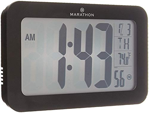 Marathon Atomic Self-setting Self-adjusting Wall Clock w/Stand & 8 timezones - Batteries Included