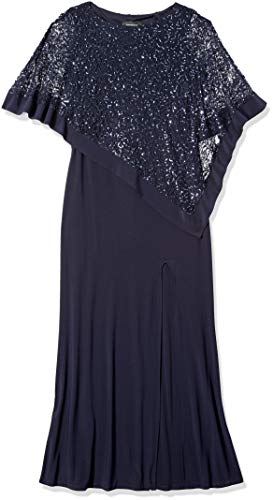 R&M Richards Women's Laced Poncho Over a Long Sheath Dress, Navy, 16 (Photos Of Mother Of The Bride Dresses)