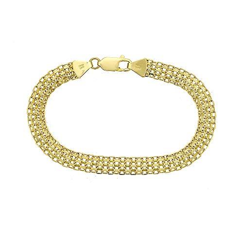 8.0mm Ladies Mesh Link Bracelet 14K Yellow Gold Italy ()
