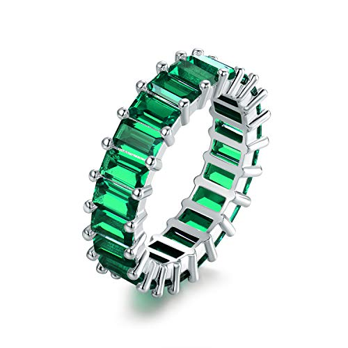Barzel 18K Rhodium Plated Eternity Cubic Zirconia Ring (Emerald Cut Emerald, 6) ()