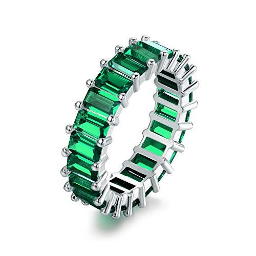 Emerald Mens Ring Gold Jewelry - Barzel 18K Rhodium Plated Eternity Cubic Zirconia Ring (Emerald Cut Emerald, 8)