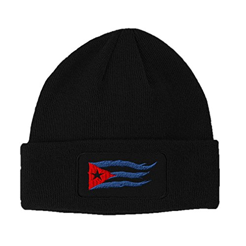 Speedy Pros Cuba Cuban Flag Flame Embroidered Unisex Adult Acrylic Patch Beanie Warm Hat - Black, One Size