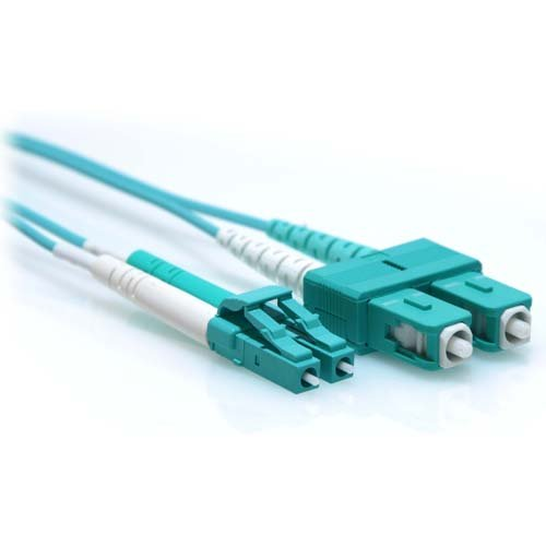 Aqua Fiber Patch Cable - CableRack 5m LC/SC 40/100GB Duplex 50/125 Multimode OM4 Fiber Patch Cable Aqua