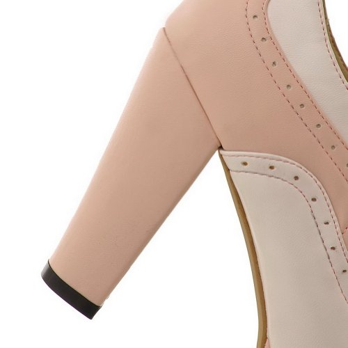 Pumps Heel Womens PU Bandage WeiPoot with and Closed Material Toe Assorted Round High Soft Pink Colors SzwqHz