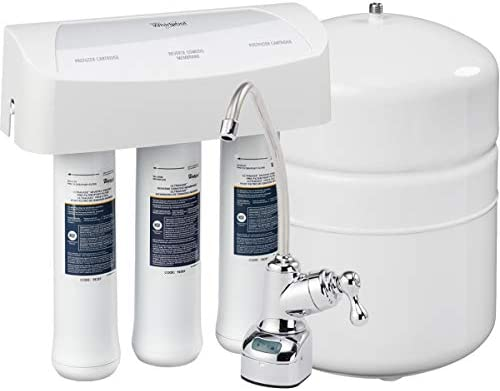 Whirlpool WHER25 Reverse Osmosis RO Filtration System With Chrome Faucet Extra Long Life Easy To Replace UltraEase Filter Cartridges, White