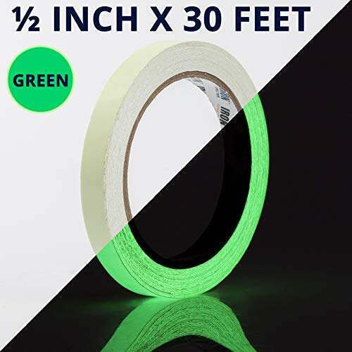 Glow Tape - 1/2 inch x 30ft Vinyl Adhesive Glow-in-The-Dark Tape Roll - Lasts up to 12 Hours