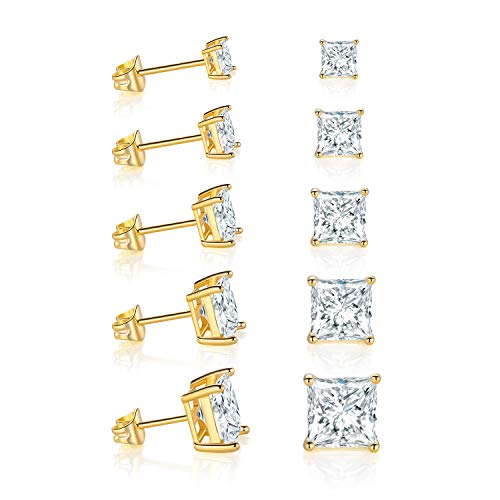 18K Yellow Gold Plated Princess Cut Cubic Zirconia Stud Earrings Pack of 5 ()