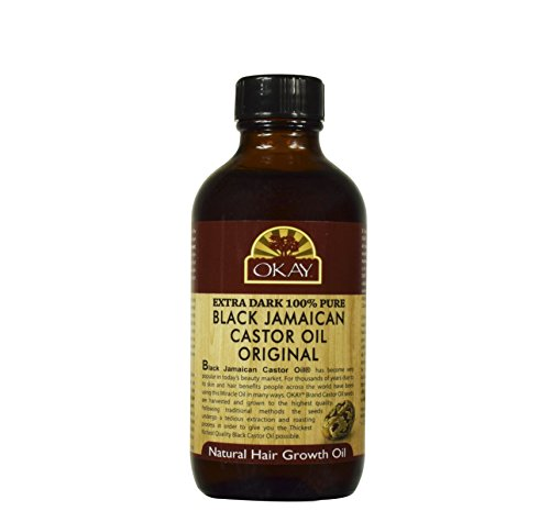 OKAY | Extra Dark 100% Natural Black Jamaican Castor Oil | For All Hair Textures & Skin Types | Grow Strong, Healthy, Smooth and Thick Hair | With Vitamin E - Omega 6 & 9 | 4 oz