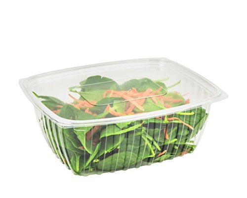 Dart C48DER, 48-Ounce ClearPac Clear Rectangular Plastic Container With Clear Flat Lid, Take Out Salad Deli Fruit Food Disposable Containers (50) -
