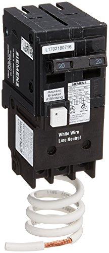 Siemens 20 Amp Circuit Breaker - Siemens QF220A Ground Fault Circuit Interrupter, 20 Amp, 2 Pole, 120V, 10,000 Aic,