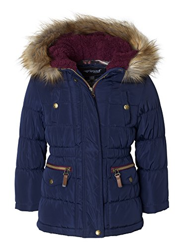 Sportoli Girls' Fashion Anorak Winter Puffer Jacket Coat with Plush Lined Hood - Navy (Size 6X)
