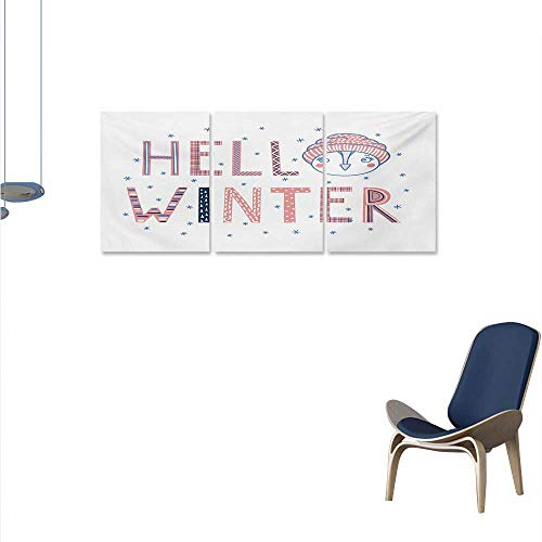 Winter The Picture for Home Decoration Hello Winter Typographic Text with Funny Face in a Hat Surrounded by Snowflakes Customizable Wall Stickers 16