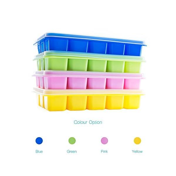 Beicemania - Vaschetta per cubetti di ghiaccio in silicone, con coperchio, 17,5 x 11,3 x 3 cm, multicolore, 4 pezzi 3 spesavip