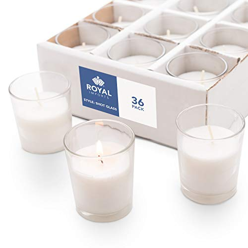 Royal Imports Votive Candles Bulk Set of 36 White Candles Wax Filled in Clear Glass Holders, Unscented, Ideal Restaurant, Weddings, Party, Spa, Holiday, Home Decor - 15 Hour Burn Time